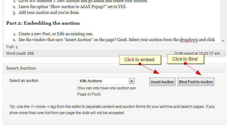 Embed and Bind your auctions to your Post/Page
